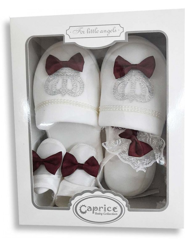 Pregnant mother and baby products in box burgundy