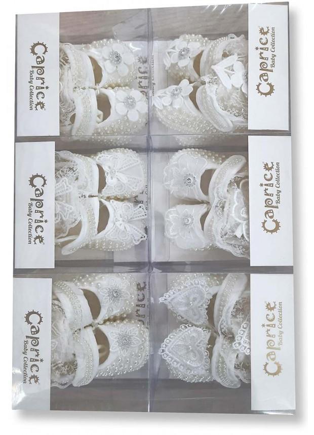 6 parça bebek süslü ayakkabı süper kaliteli beyaz toptan