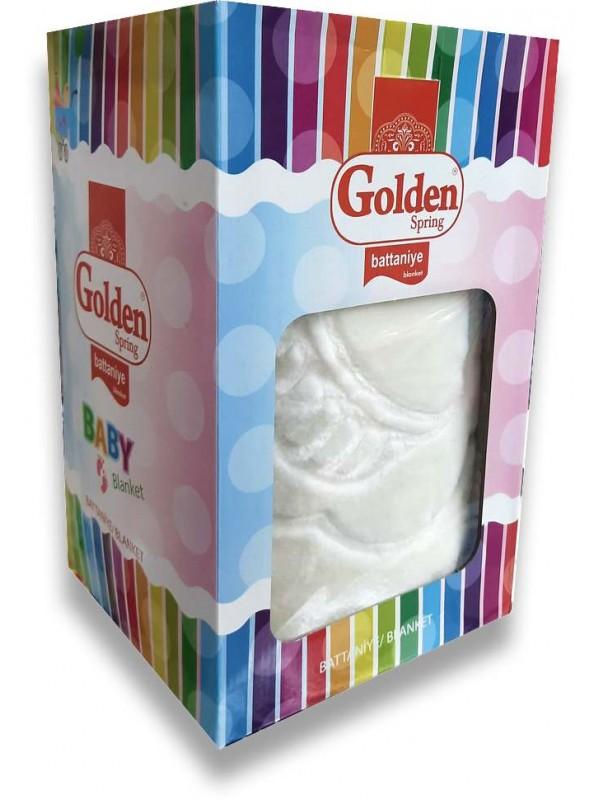 Golden Marka kaliteli beyaz bebek battaniyesi toptan