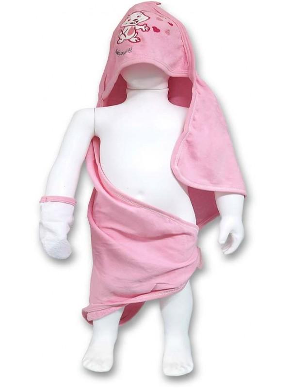 Baby girl bath towel 0-3-6-9 months - wholesale