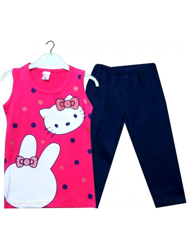 3 4 5 6 ages summer girl dress wholesale kitty fuchsia
