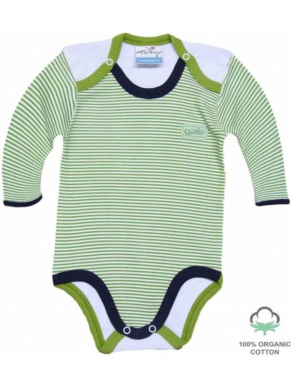 Оптовый 100% хлопок органический комбинезон для новорожденных зеленый