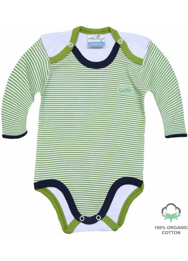 Wholesale 100% cotton organic newborn rompers bodysuit green