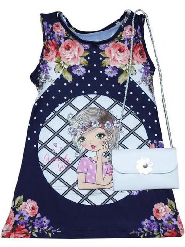 Летнее платье для девочек 2-3-4-5 лет с сумочкой, аксессуары 2Mdl