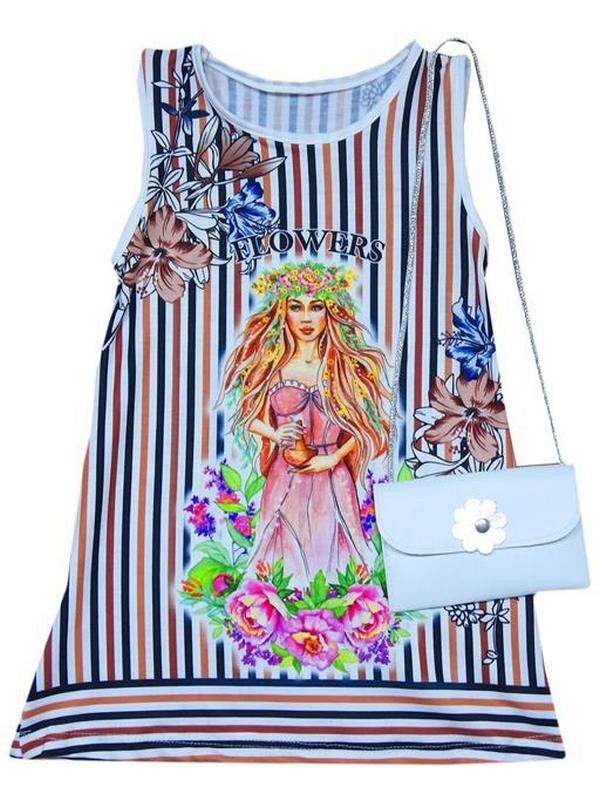 2-3-4-5 age girls summer dress with bag accessories 4Mdl