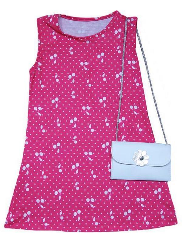 2-3-4-5 yaş kız çocuk yazlık elbise çanta aksesuarlı 5Mdl
