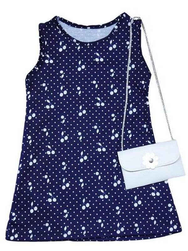2-3-4-5 yaş kız çocuk yazlık elbise çanta aksesuarlı 7Mdl