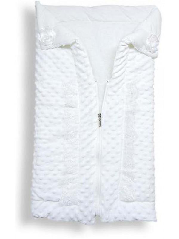 % 100 pamuk kaliteli fermuarlı bebek battaniyesi toptan beyaz