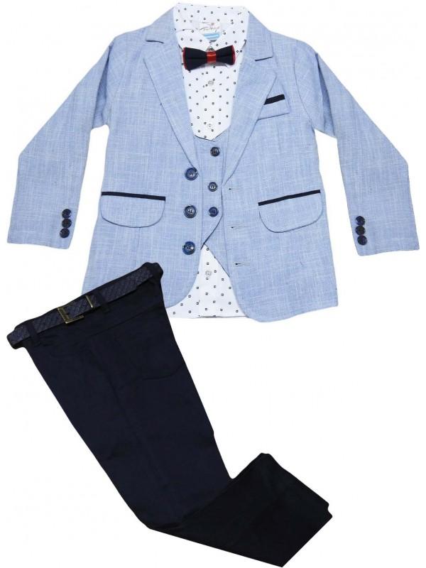 5-6-7-8 yaş toptan erkek çocuk takım elbise açık mavi