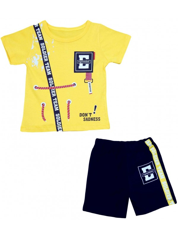 2-3-4-5 years old boy's summer suit yellow