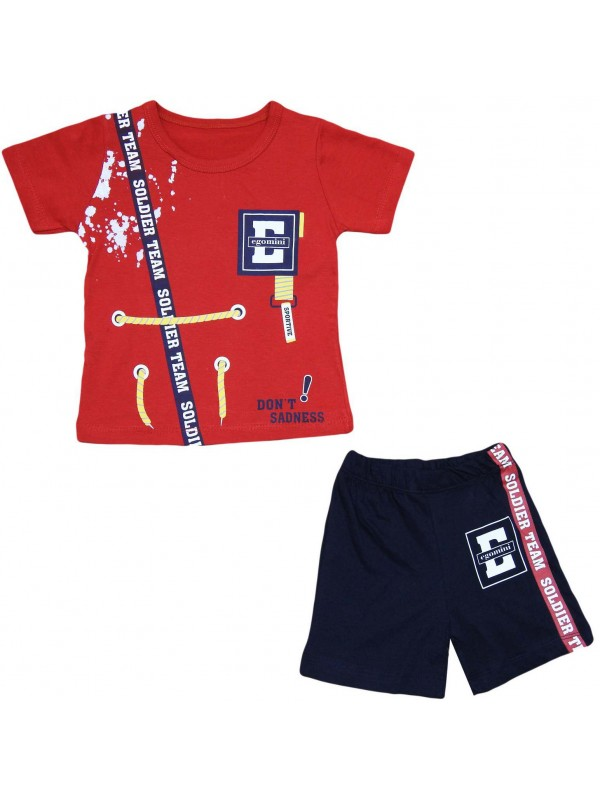 2-3-4-5 years old boy's summer suit red