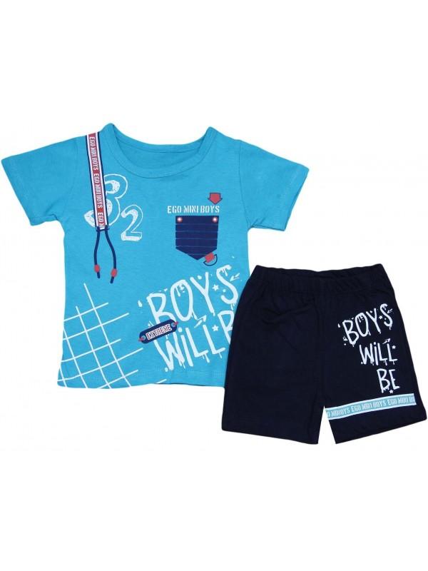 Летний костюм нового сезона для мальчиков 2-3-4-5 лет бирюзовый