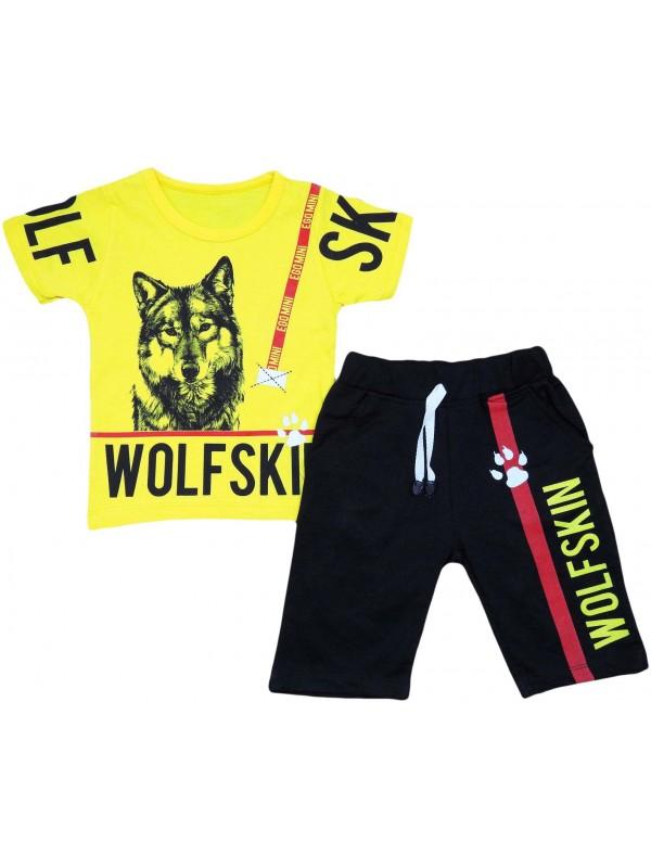 Детская одежда с волчьим принтом на 2-3-4-5 лет оптом желтый