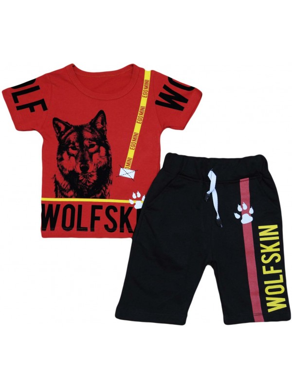 2-3-4-5 years old wolf print children's clothing wholesale red