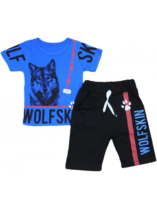 2-3-4-5 years old wolf print children's clothing wholesale navy