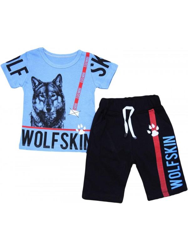 2-3-4-5 yaş kurt baskı çocuk giyim toptan mavi