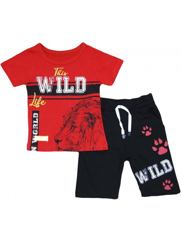 2-3-4-5 years old lion print children's clothing wholesale red