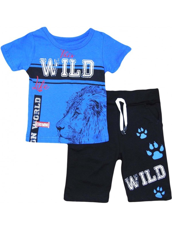 2-3-4-5 лет детская одежда с принтом льва оптом темно-синий