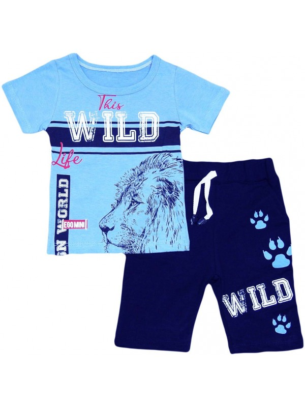 2-3-4-5 years old lion print children's clothing wholesale blue
