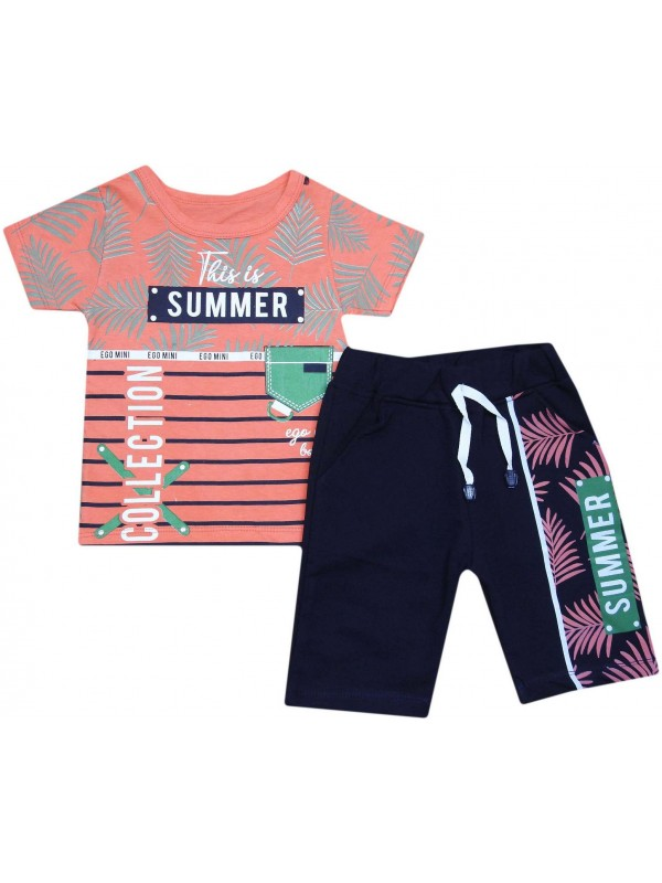 2-3-4-5 years old summer collection printed children's clothing orange