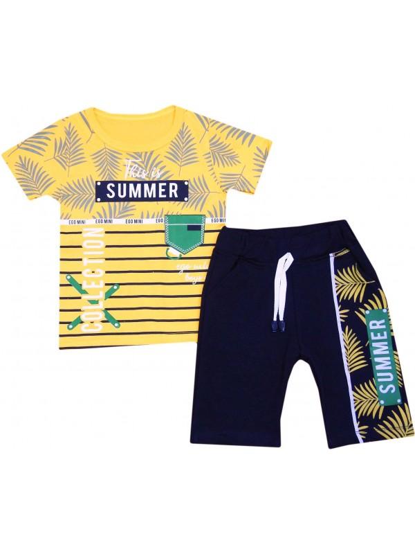 2-3-4-5 yaş summer collection baskılı çocuk giyim sarı