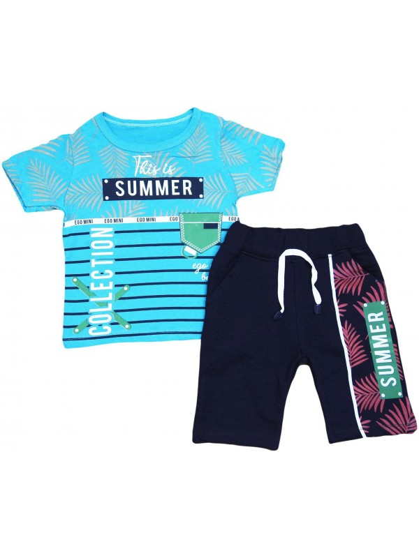 2-3-4-5 years summer collection printed children's clothing turquoise