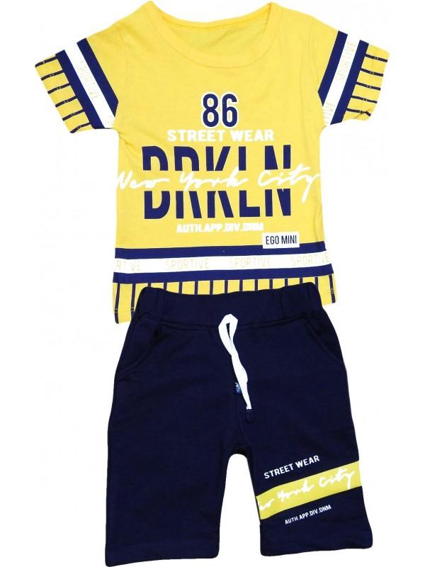 2-3-4-5 yaş sportive baskılı yazlık çocuk giyim sarı