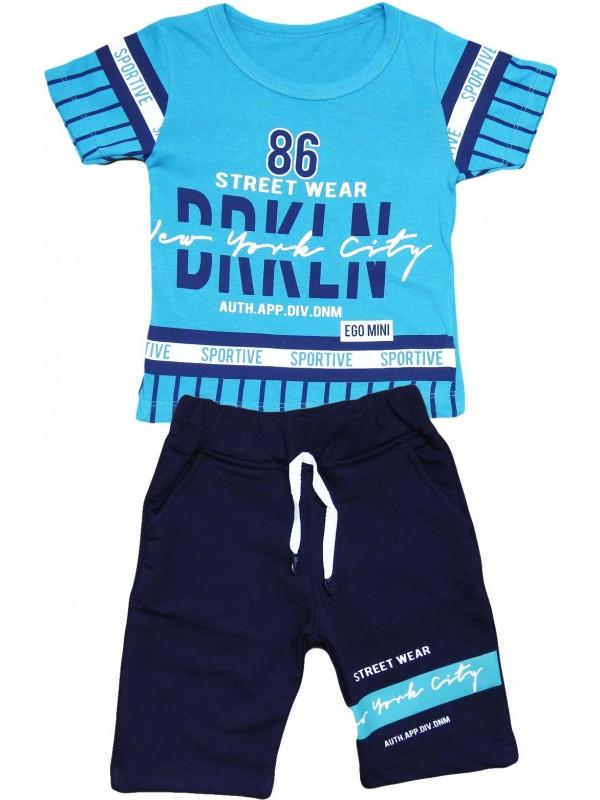 2-3-4-5 yaş sportive baskılı yazlık çocuk giyim turkuaz