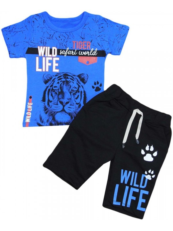 2-3-4-5 years old tiger printed summer children's clothing navy blue