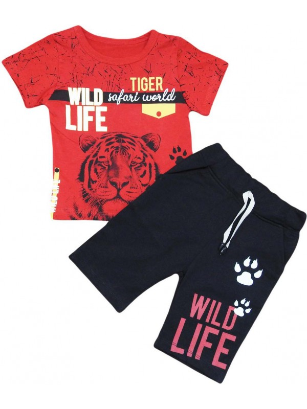2-3-4-5 age tiger printed summer children's clothing red