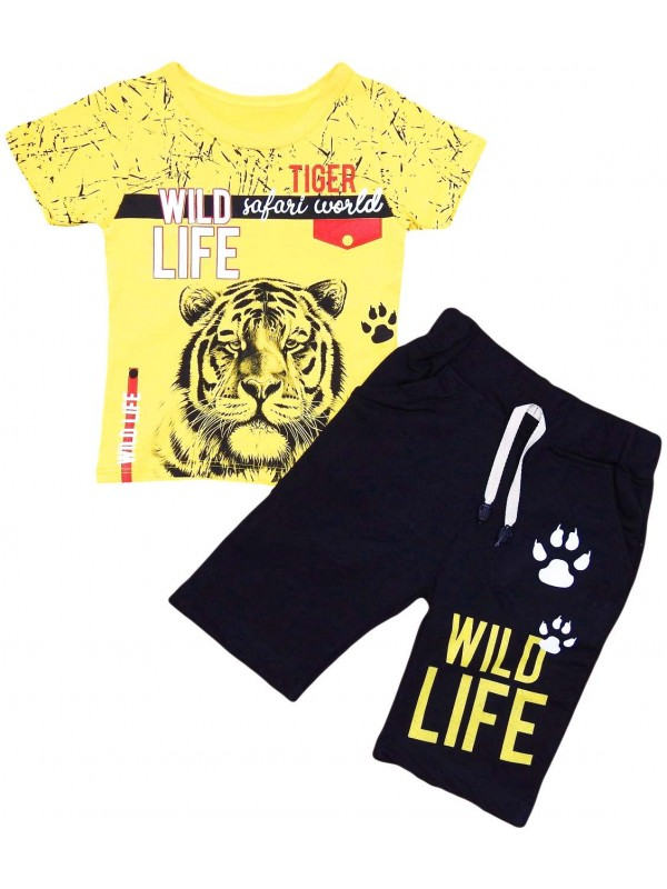 2-3-4-5 age tiger printed summer children's clothing yellow