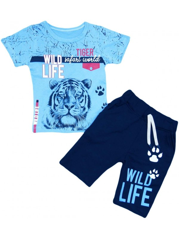 2-3-4-5 age tiger printed summer children's clothing turquoise