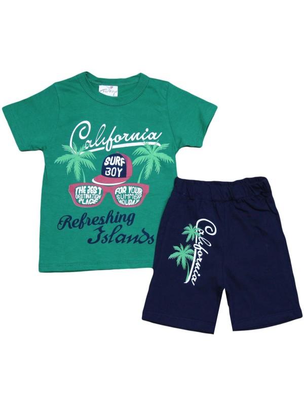Летняя детская одежда с принтом в Калифорнии для 2-3-4-5 лет, зеленая