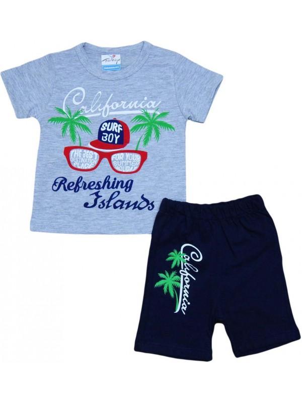 2-3-4-5 yaş california baskılı yazlık çocuk giyim gri
