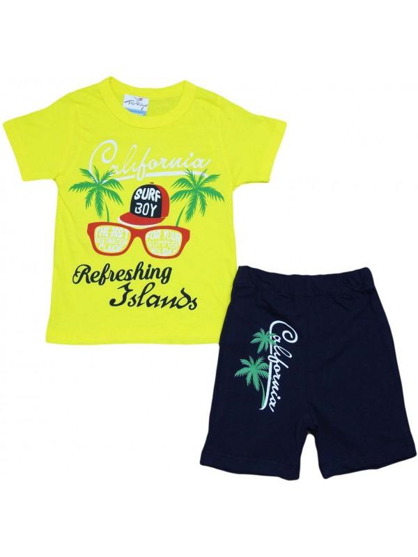 Летняя детская одежда с принтом калифорнии, возраст 2-3-4-5 лет, желтая