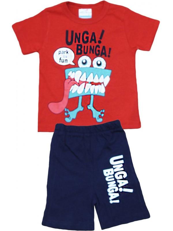 2-3-4-5 yaş unga bunga baskılı yazlık çocuk giyim kırmızı