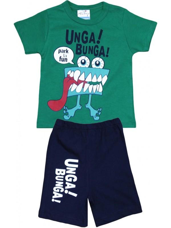 2-3-4-5 age unga bunga printed summer children's clothing green