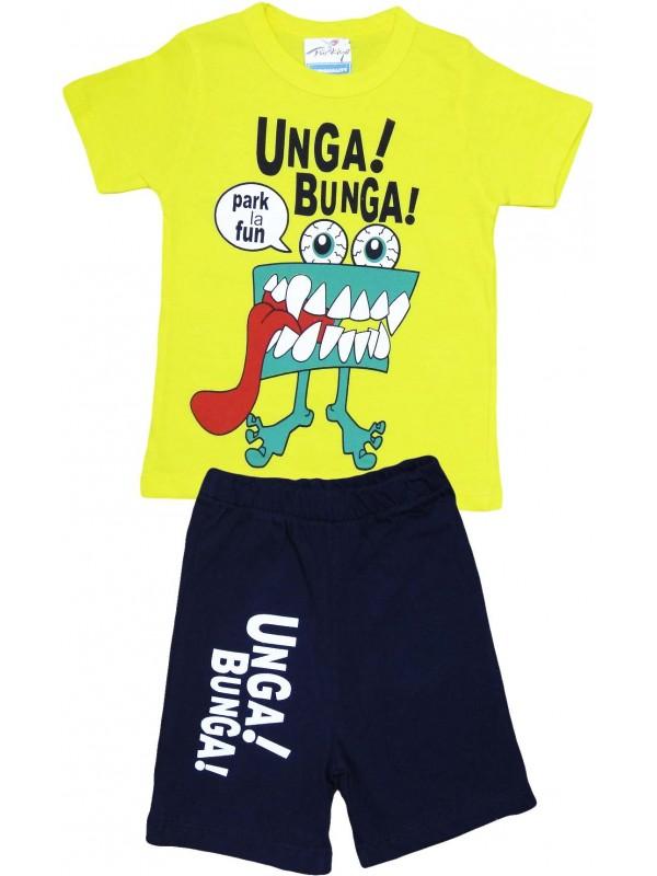 Летняя детская одежда с принтом unga bunga для 2-3-4-5 лет, желтая