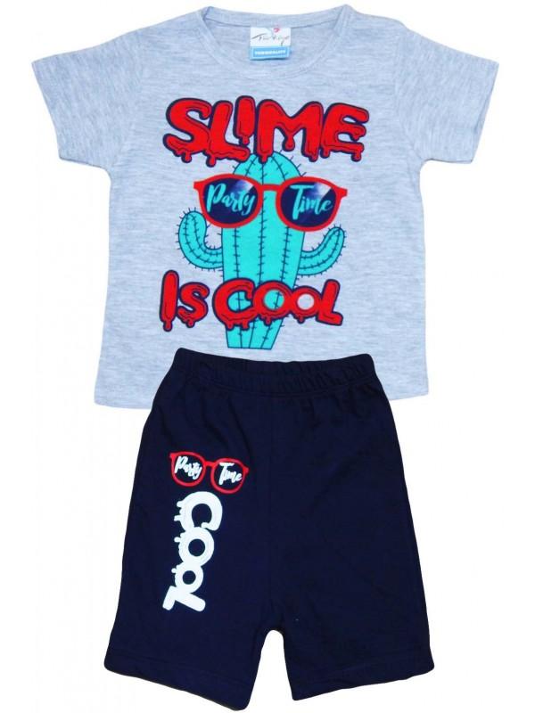 Летняя детская одежда с принтом в возрасте 2-3-4-5 лет серая