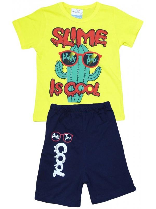 Летняя детская одежда с принтом для детей 2-3-4-5 лет желтого цвета