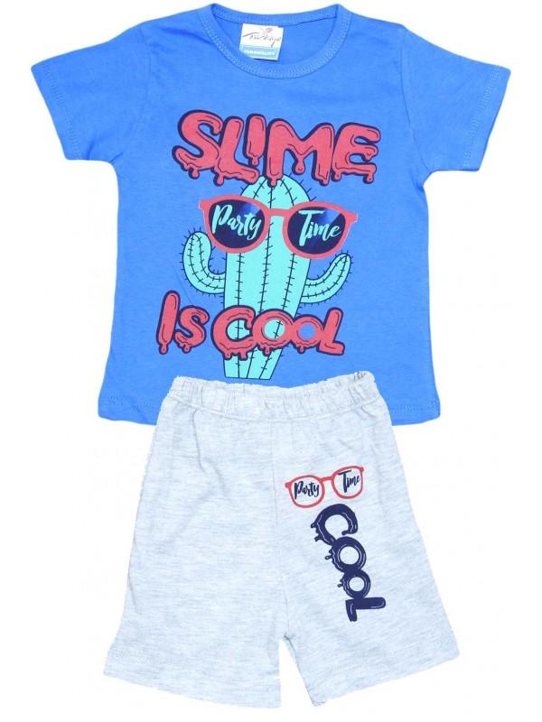 2-3-4-5 yaş cool baskılı yazlık çocuk giyim mavi