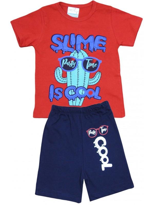 2-3-4-5 yaş cool baskılı yazlık çocuk giyim kırmızı