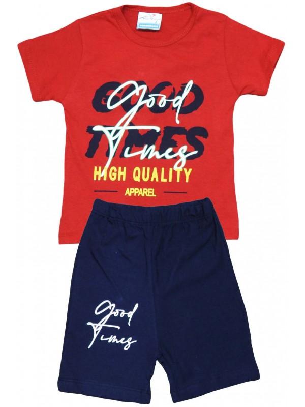 Очень качественная летняя детская одежда с принтом для 2-3-4-5 лет красного цвета