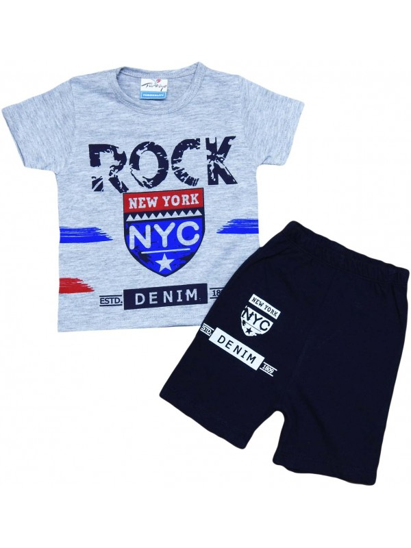 2-3-4-5 age new york printed summer children's clothing gray