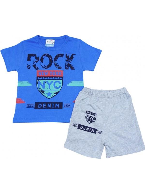 Летняя детская одежда с принтом в Нью-Йорке для возраста 2-3-4-5 лет темно-синий