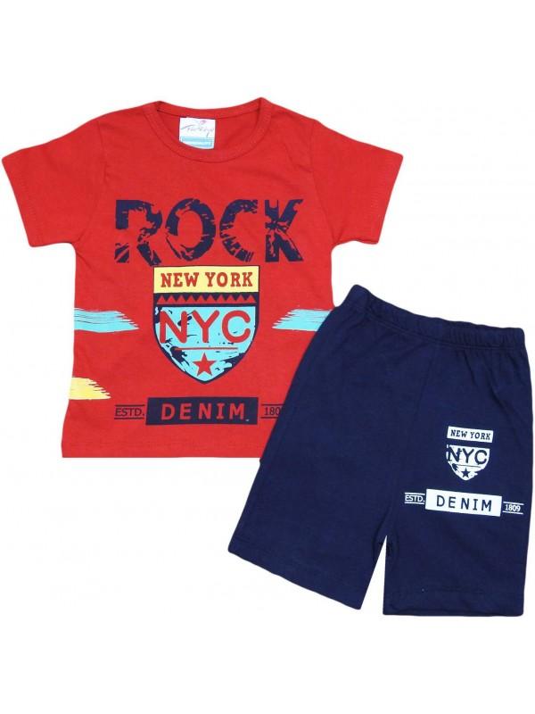 2-3-4-5 yaş new york baskılı yazlık çocuk giyim kırmızı
