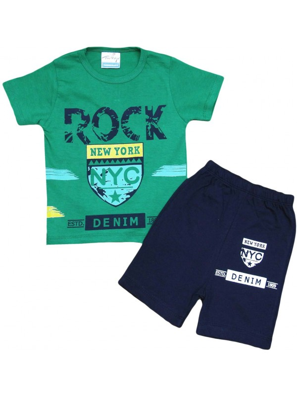 2-3-4-5 age new york printed summer children's clothing green
