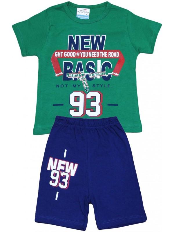 2-3-4-5 yaş new 93 baskılı yazlık toptan çocuk giyim yeşil