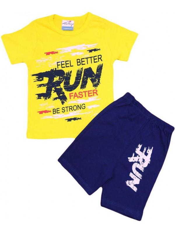 2-3-4-5 yaş run faster baskılı yazlık çocuk giyim sarı