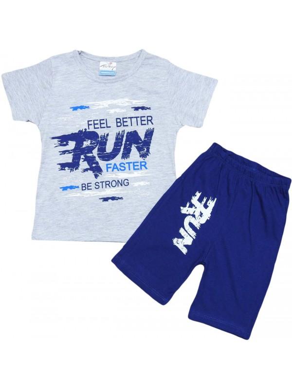 2-3-4-5 age run faster printed summer kids wear gray